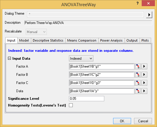 Three-Way ANOVA in OriginPro