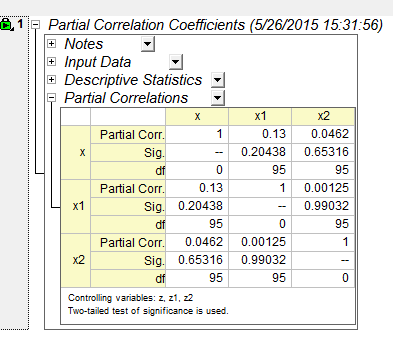 Partial correlation coefficients in OriginPro