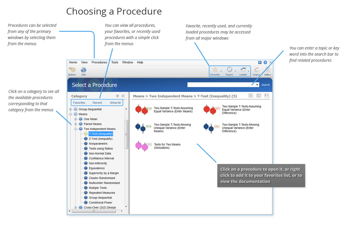 Choosing a Procedure in PASS