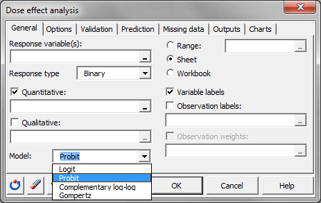 dialog box for logistic regression in XLSTAT