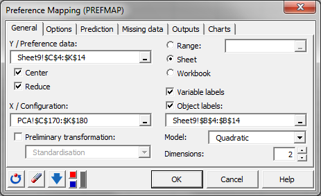 Dialogbox for preference mapping in XLSTAT